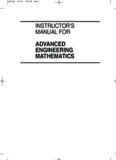instructor's manual for advanced engineering mathematics