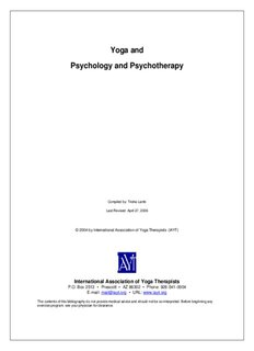 Yoga and Psychology and Psychotherapy - Centre for Yoga Studies