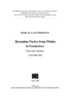 Byzantine Poetry from Pisites to Geometers